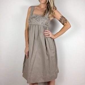Banana Republic linen blend embroidered dress sz 4